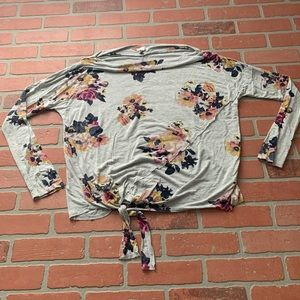 Maurice's Medium Floral Tie Front Tunic Top